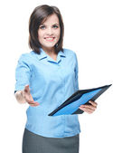 Attractive young woman in a blue blouse. Holds a a folder and gi — Stock Photo