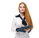 Attractive young woman in a white blouse. Holds a folder. — Stock Photo