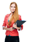 Attractive young woman in a red jacket. Holds a folder. Long red — Stock Photo