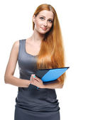 Attractive young woman in a gray business dress. Holds a folder. — Стоковое фото
