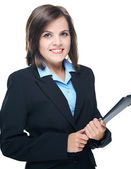 Attractive young woman in a black business suit. Holds a folder. — Stock Photo