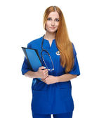Atractiva joven enfermera uniforme. contiene la carpeta. aislado en whi — Foto de Stock