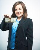 Happy young woman in a black jacket. Holding dollars.  — Stock Photo