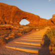 North Window Arch Sunset Steps — Stock Photo