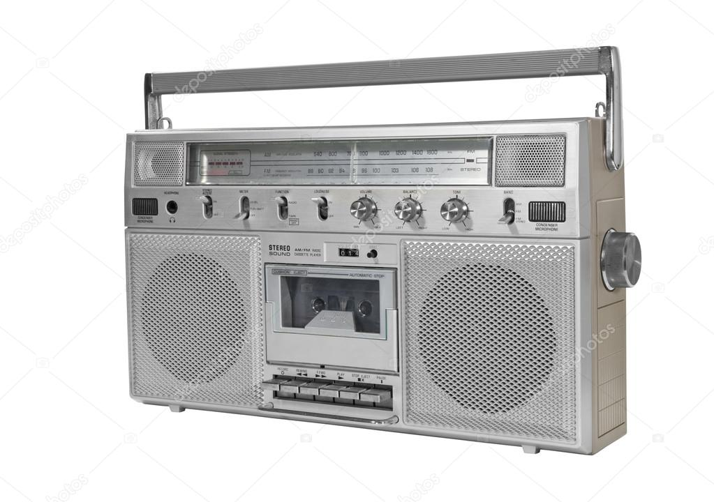 Vintage portable stereo blaster box isolated on white with clipping path  Stock Photo #16232723