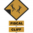 Fiscal Cliff Warning Sign Isolated on White — Stock Photo