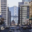 San Francisco Towers and Bay Bridge — Stock Photo