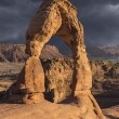 Stock Photo: Delicate Arch and Storm Moab Utah