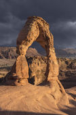 Delicate Arch and Storm Moab Utah — Stock Photo