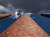 Towering Smokestacks with Smoke Sky — Stock Photo