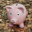 Stock Photo: Vintage Piggy Bank on Penny Pile