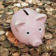 Vintage Piggy Bank Chin Deep in Pennies — Stock Photo