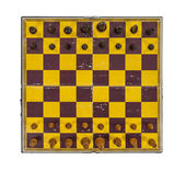 Grungy Vintage Chess Board with Pieces in Place — Stock Photo