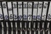 老式打字机 typebars 极端宏 — 图库照片