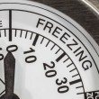 Freezing Zone Thermometer Macro Detail  — Стоковая фотография