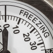 Freezing Zone Thermometer Macro Detail  — 图库照片