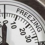 dettaglio di macro zona termometro di congelamento — Foto Stock