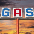 Vintage Gas Sign with Sunset Sky — Stock Photo