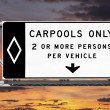Overhead Freeway Carpool Only Sign with Sunset Sky — Stock Photo