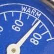 Stock Photo: Vintage Blue Refrigerator Thermometer Macro Detail