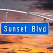 Sunset Blvd Overhead Street Sign with Dusk Sky — Stock Photo #27761285