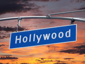Hollywood Blvd Sign with Sunset — Stock Photo