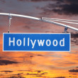 Hollywood Blvd Overhead Street Sign with Sunset Sky — Stock Photo