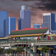 Downtown Los Angeles Chinatown Station Sunset — Stock Photo