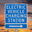 Stock Photo: Electric Vehicle Charging Station Sign with Sunset Sky