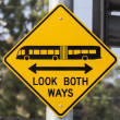 Look Both Ways Bus and Tram Warning Sign — ストック写真