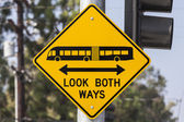Look Both Ways Bus and Tram Warning Sign — Stok fotoğraf