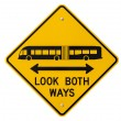 Look Both Ways Bus and Tram Warning Sign Isolated — Stock Photo
