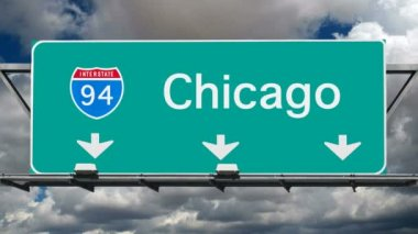 Chicago - Interstate 94 Sign Time Lapse — Stock Video