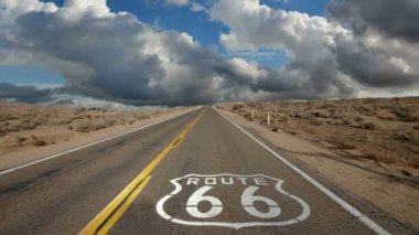 Route 66 with Time Lapse Clouds — Stock Video