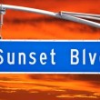 Sunset Blvd Street Sign Time Lapse — Stock Video