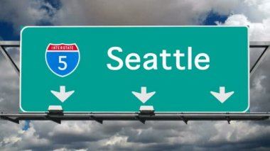Seattle - Interstate 5 Sign Time Lapse — Stock Video