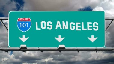 Los Angeles 101 Freeway Sign Fun Font Time Lapse — Stock Video