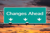 Changes Ahead Freeway Road Sign — Stock Photo