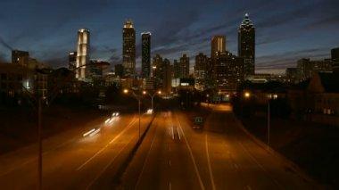 Downtown Atlanta Dusk Time Lapse — Stock Video