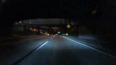 Harbor 110 Freeway Los Angeles Night Rain Time Lapse — Vídeo de Stock