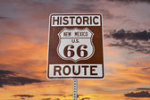 Old Route 66 New Mexico Sign With Sunset Sky — Stock Photo