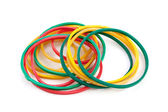 Elastic bands on a white background — Stock Photo