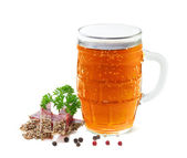 Mug of beer and salami with parsley on a white background — Stock Photo