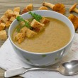 Stock Photo: Chanterelle soup puree served with croutons