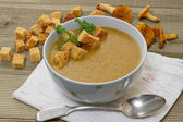 Chanterelle soup puree served with croutons — Stock Photo