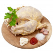 Raw chicken in marinade on white background — Stock Photo #12537138