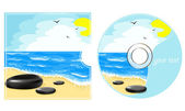CD label with a sea view — Stock Vector