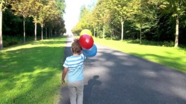 Boy with balloons in the park — Stock Video