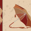 Open umbrella on vintage background — Stock Vector
