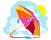 Color umbrella with rain drops against the sky — Stock Vector